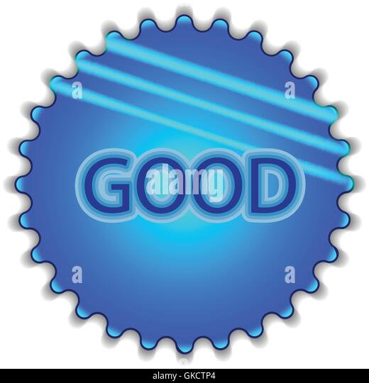Big blue button labeled 'good' - Stock-Bilder