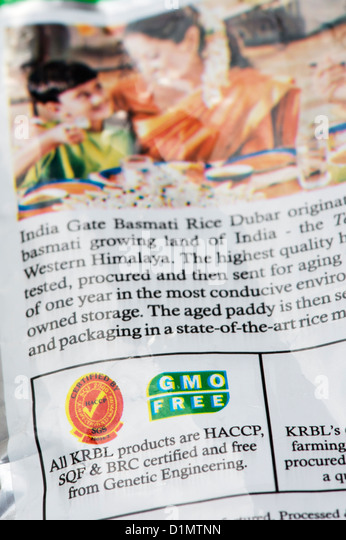 Indian Genetically modified organism free packet food label. GMO free - Stock Image
