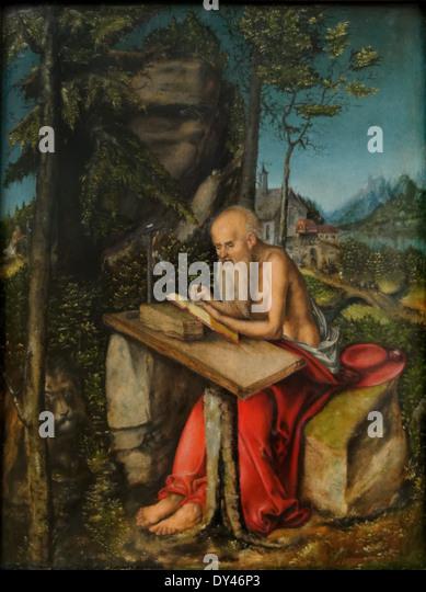 Lucas Cranach - St. Hieronymus in a rocky landscape (Jerome) - 1515 - XVI th Century - German School - Gemäldegalerie - Stock Image