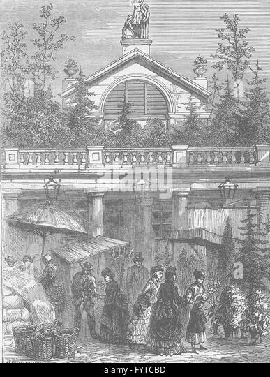 COVENT GARDEN MARKET: Entrance to the market. London, antique print c1880 - Stock Image