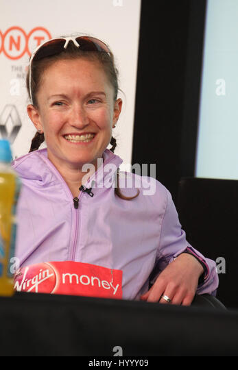 ​​​London, UK 24 April 2016. Alyson Dixon who was the first GBR women finisher as the Virgin Money London Marathon - Stock Image