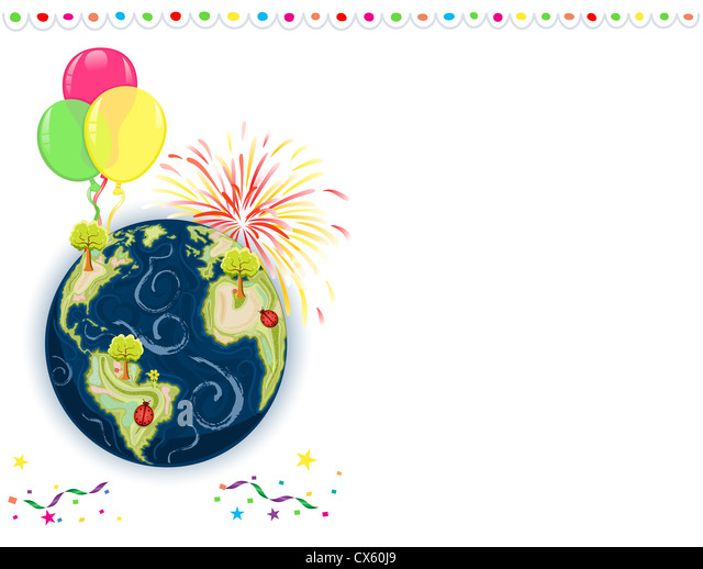 Earth Day Celebration - greeting card with balloons, fireworks and confetti. - Stock Image
