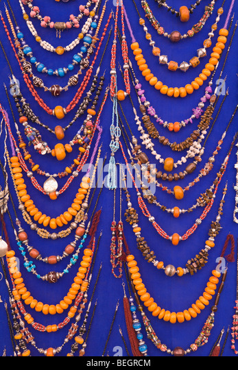Beaded necklaces for sale Marrakech Morocco - Stock Image