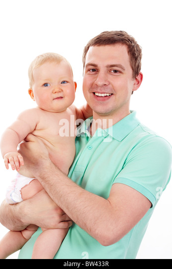 Portrait of loving father and his baby looking at camera - Stock Image