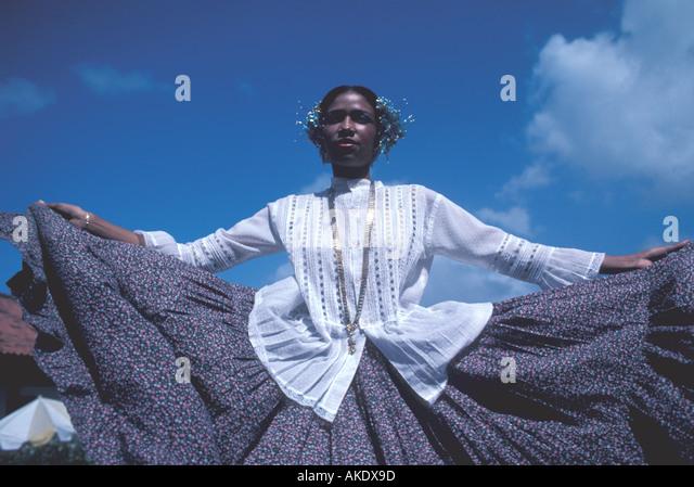 Republic of Panama woman in traditional peasant dress folkloric dress Pollera montuna - Stock Image