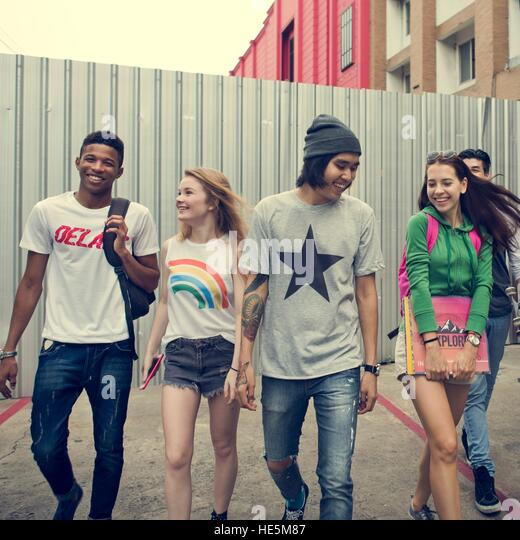 Friends Hipster Teenager Buddies Concept - Stock Image