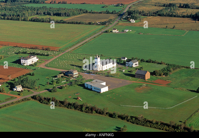 Aerial of Farmers' Bank, South Rustico a National Historic Site, Prince Edward Island, Canada. - Stock Image
