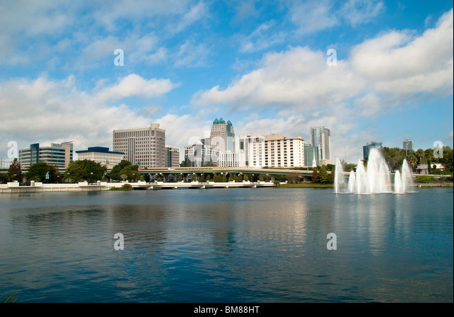 City Center and Lake Lucerne in Orlando, Florida, USA - Stock Image