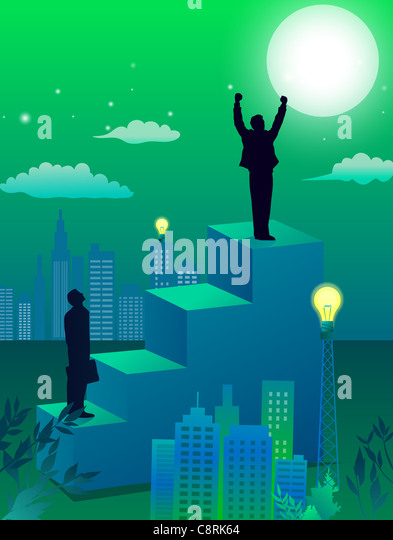 Illustration of city and two men standing high on steps - Stock-Bilder