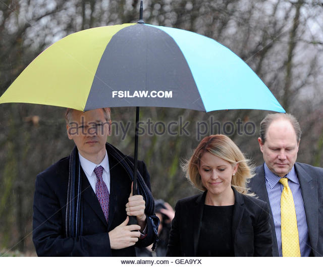 WikiLeaks founder Julian Assange (L) arrives with his lawyer Jennifer Robinson (C) for the final day of his extradition - Stock Image