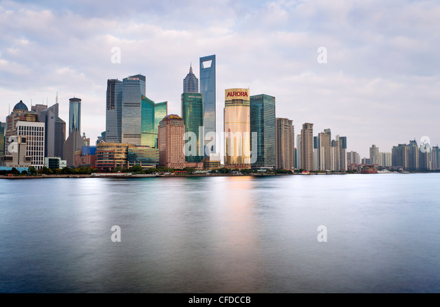 New Pudong skyline, looking across the Huangpu River from the Bund, Shanghai, China, Asia - Stock Image