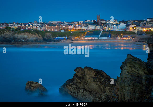 Twilight over Newquay, Cornwall, England - Stock Image