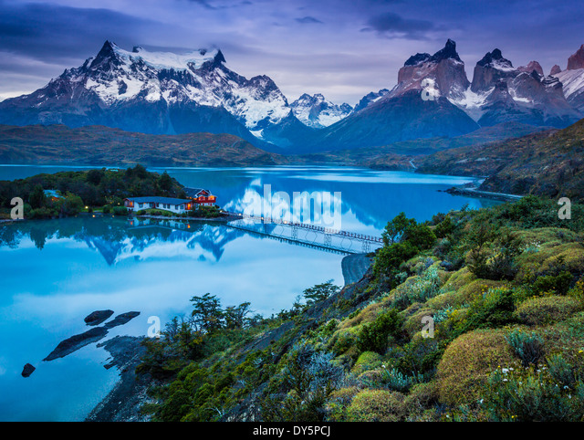 Lago Pehoe in Torres del Paine National Park, Chilean part of Patagonia - Stock Image