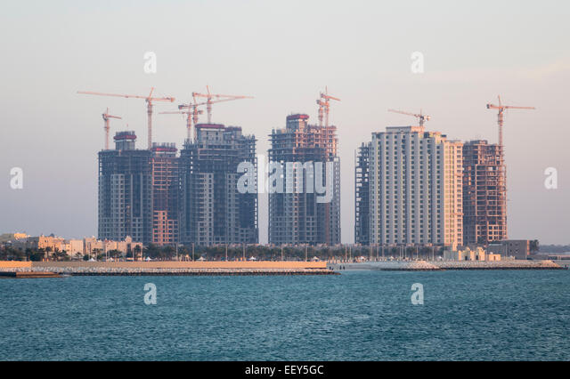 Construction of new apartment buildings near the Royal Palace in Budaiya, Bahrain - Stock Image