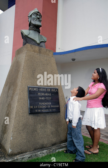 Panama City Panama Panama Viejo Ruinas Panama La Vieja ruins historic World Heritage Site visitors center statue - Stock Image