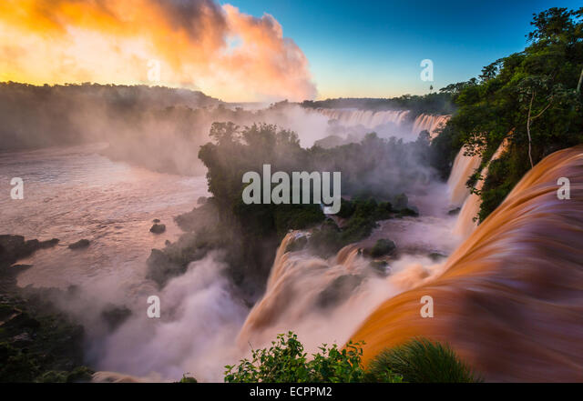 Iguazu Falls are waterfalls of the Iguazu River on the border between Argentina and Brazil - Stock Image