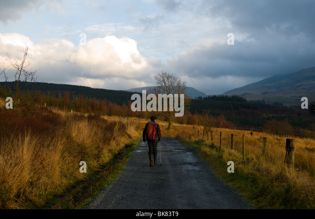 A walker on a minor road near Beddgelert, Snowdonia, North Wales, UK - Stock Image