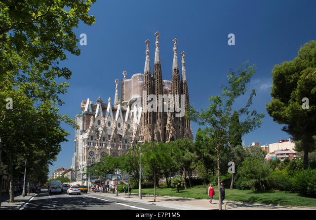 Gaudi, world heritage, architecture, art, Barcelona, Catalonia, colourful, no cranes, famous, Sagrada Familia, skyline, - Stock Image