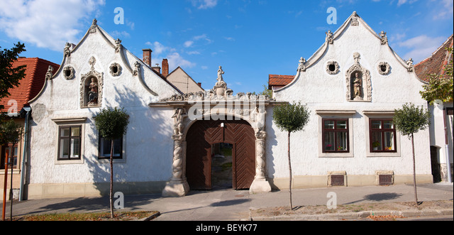 The two Moors House (K t m r h z). Rustic Baroque architecture - Sopron, Hungary - Stock Image