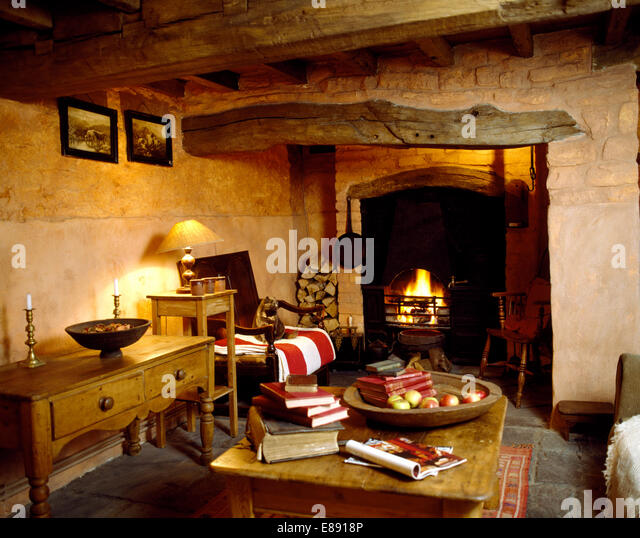Traditional Fireplaces Interiors Livingrooms Stock Photos