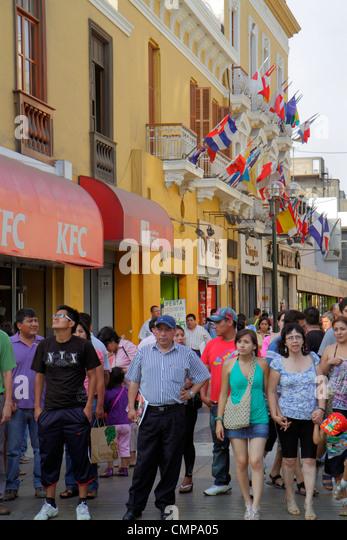 Lima Peru Jiron de la Union historic district peatonal promenade pedestrian mall shopping storefront crowded sidewalk - Stock Image