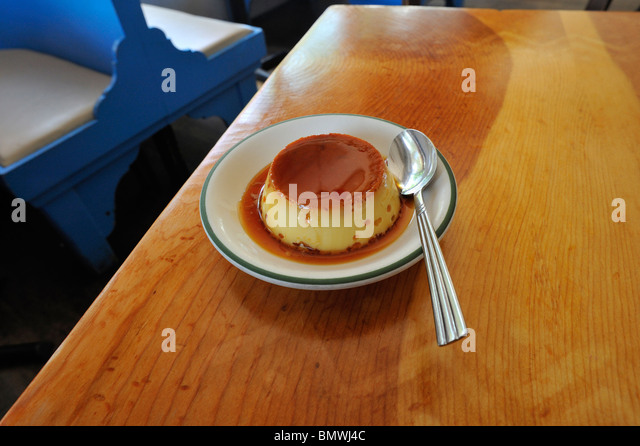 A flan on a table of a Spanish restaurant Stock Photo