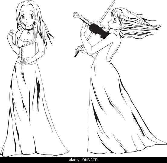 Anime girls with book and violin. Black and white vector illustration. - Stock-Bilder