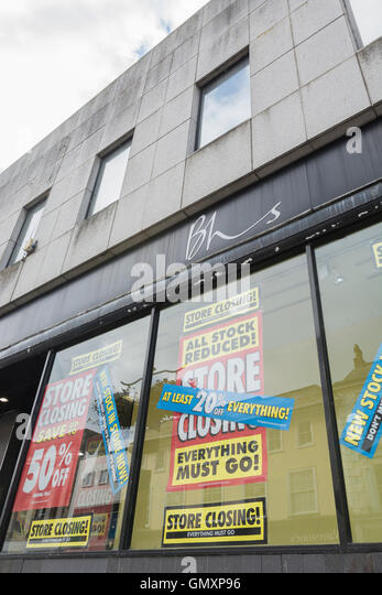 BHS Stores closure - last days of sale of Truro (Cornwall) BHS department store. Concept of sell-off of stock, store - Stock Image