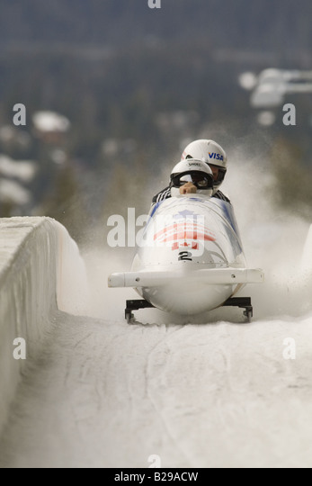 bobsleding whistler sliding center,whistler,british columbia - Stock Image