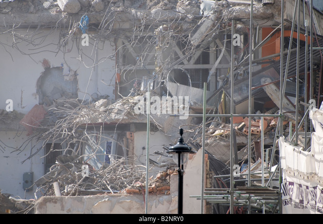 Demolition of the Swiss Centre, Leicester Square, London UK - Stock Image