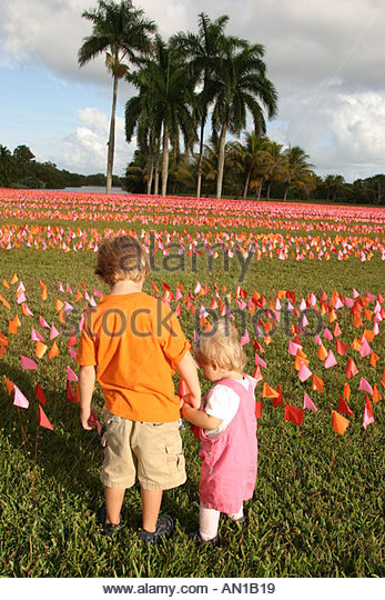 Florida Coral Gables Fairchild Tropical Botanic Garden Flower Square art installation flags represent brushstrokes - Stock Image