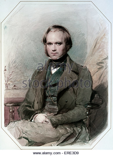 Charles Darwin - portrait by George Richmond, 1840. CD, English scientist: 12 February 1809 – 19 April 1882. GR, - Stock Image