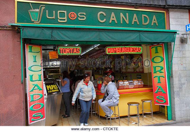 Mexico Mexico City DF D.F. Ciudad de México Federal District Distrito Federal Centro Historico 5 de Mayo Jugos - Stock Image