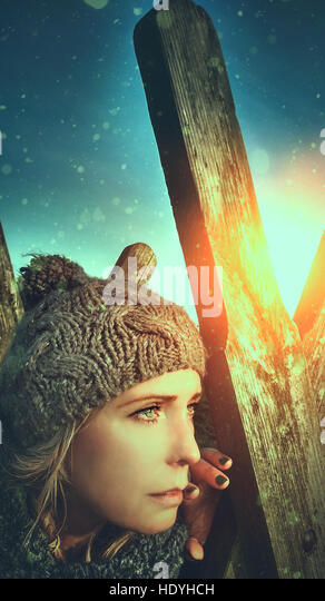 woman,young,sunset,landscape,nature,artistic - Stock Image