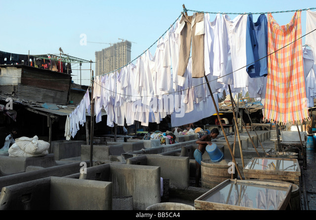 Laundry hanging out to dry in Dhobi Ghats, Mumbai, India - Stock-Bilder