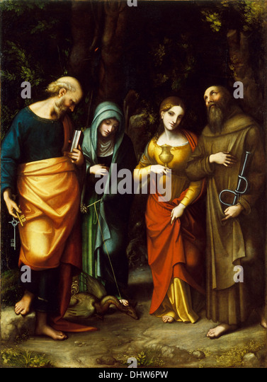 Saints Peter, Martha, Mary Magdalen, and Leonard - by Correggio, 1500's - Stock Image