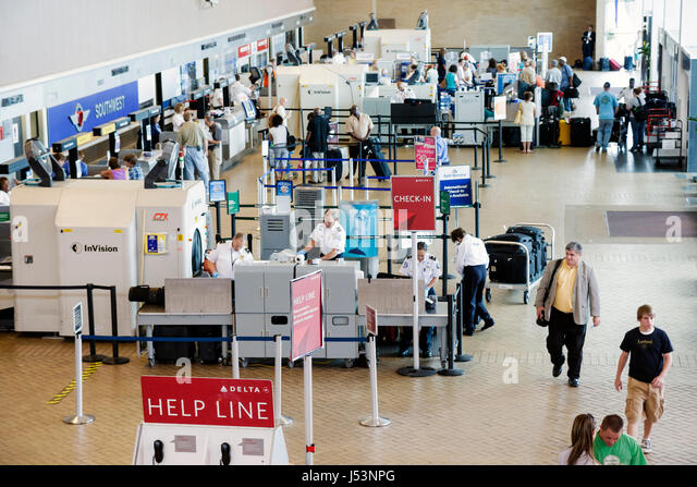 Little Rock Arkansas Little Rock National Airport baggage screening x ray equipment TSA Transportation Security - Stock Image
