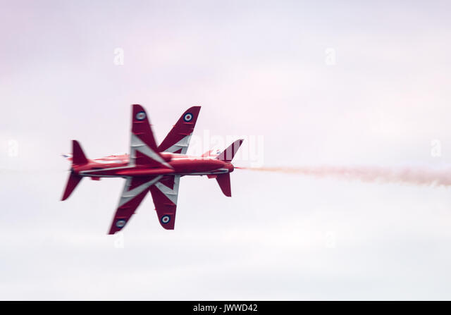 Blackpool 13th August 2017: Blackpool annual airshow visitors enjoy dispaly from a slection of aircraft and dispaly - Stock Image