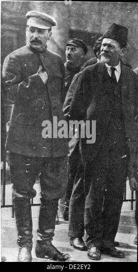 Josef Stalin and Mikhail Kalinin, Soviet leaders, 1930s. - Stock Image