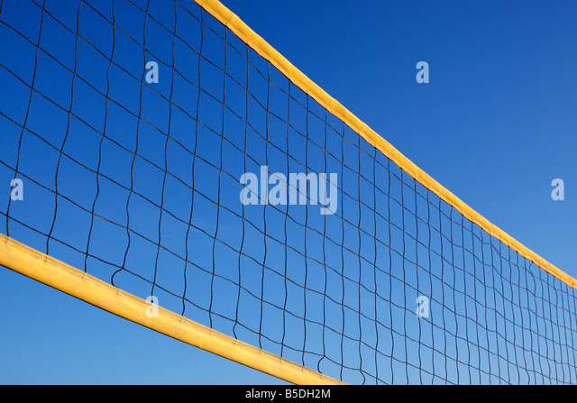 beach volleyball net protaras cyprus mediterranean - Stock Image