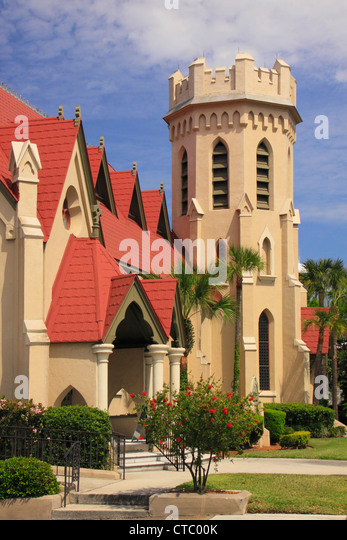 ST PETERS EPISCOPAL CHURCH, HISTORIC DOWNTOWN, FERNANDINA BEACH, FLORIDA, USA - Stock Image