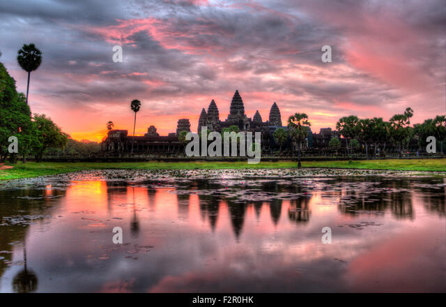 HDR Sunrise over Angkor Wat - Stock Image