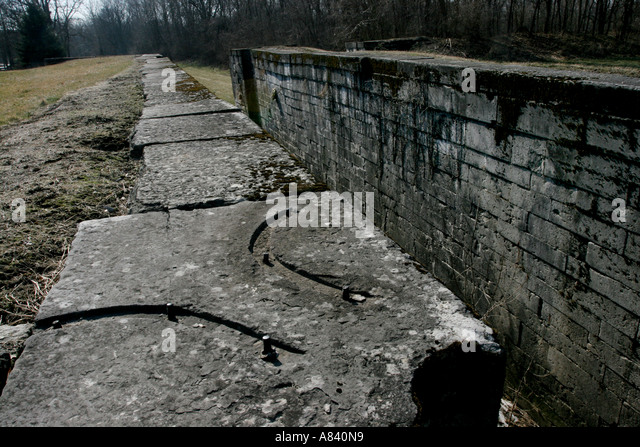 Lockington locks Miami Erie Canal lock ohio transportation history travel historic lake eire great miami river - Stock Image