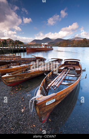 Wooden Rowing Boats on Derwent Water, Keswick, Lake District, Cumbria, England. Autumn (November) 2011. - Stock Image