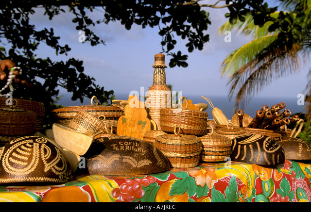 Dominica West Indies Caribbean Carib Reserve Carib Handicrafts Garifuna Carib Territory bright colors red yellow - Stock Image