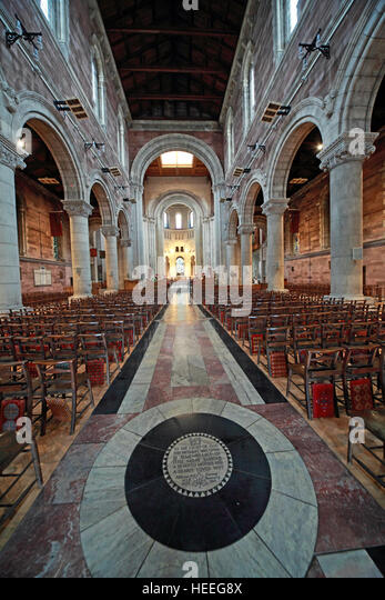 St Annes Belfast Cathedral Interior,Elise Milne Barbour memorial pavement - Stock Image