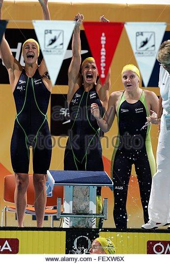 The australian 4 x 100 m medley relay team with sophie edington from