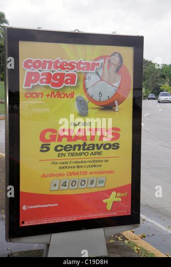 Panama Panama City Amador outdoor advertisement ad advertising sign backlit display marketing prepaid phone card - Stock Image