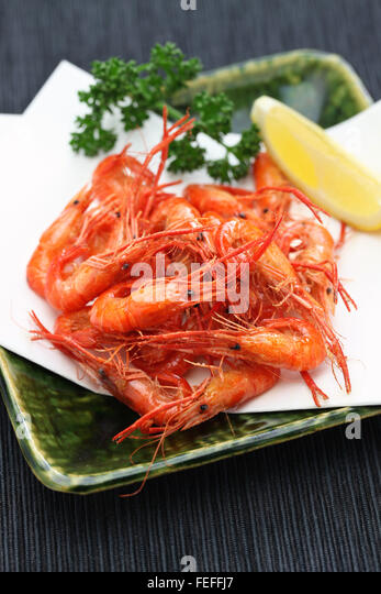 deep fried freshwater shrimp, kawaebi no karaage, japanese food - Stock Image