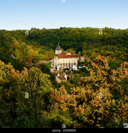 View across the valley towards the village of Gargilesse, Indre, France - Stock Image